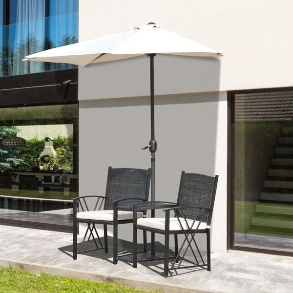 Outsunny 863 027bk set mobili da giardino 3 pz rattan - Mobili da giardino in rattan ...