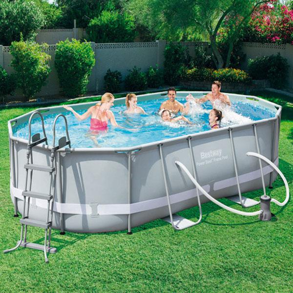 Piscina da esterno fuori terra bestway 488x305x107cm pvc for Attrezzi per piscina