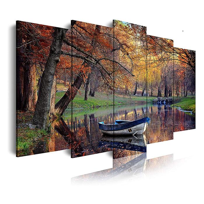 DEKOARTE 156 Quadro Moderno Stile Paesaggio Autunno 5 Pezzi