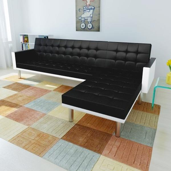 vidaxl divano letto a l ecopelle bianco nero