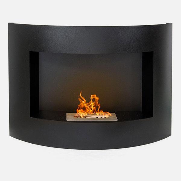 DIVINA FIRE TOkio Biocamino da Parete Acciaio Nero Opaco
