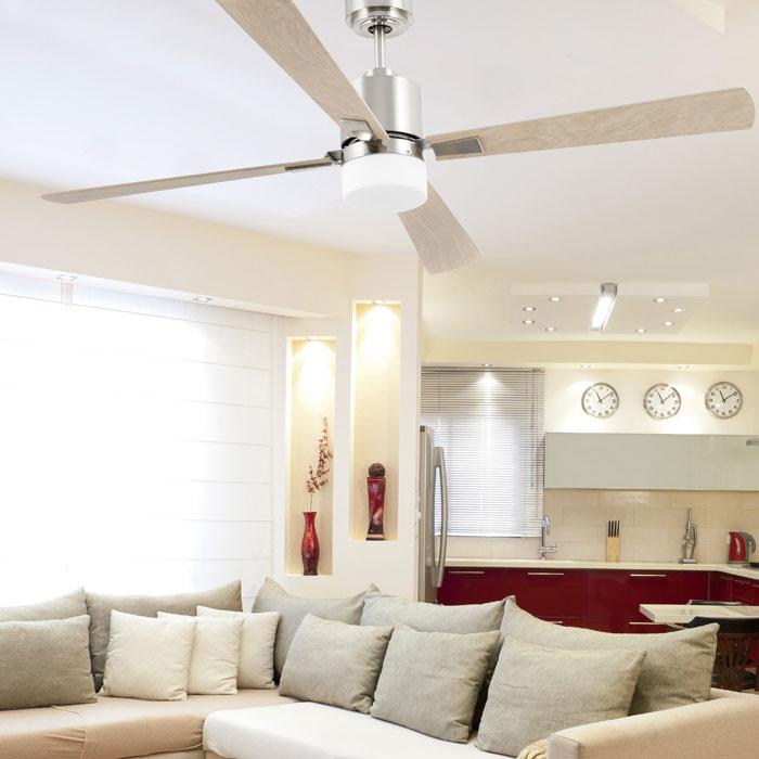 FARO Palk 33470 Ventilatore da Soffitto a LED Ø 132cm Acero