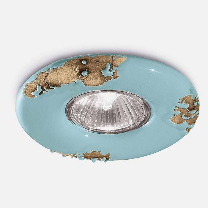 FERROLUCE Retrò C481-VIA Faretto da Incasso in Ceramica Blu Via