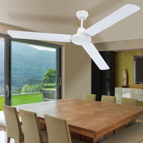 GLOBO Ferro 0310 Ventilatore da Soffitto senza Luce 3 Pale Bianco
