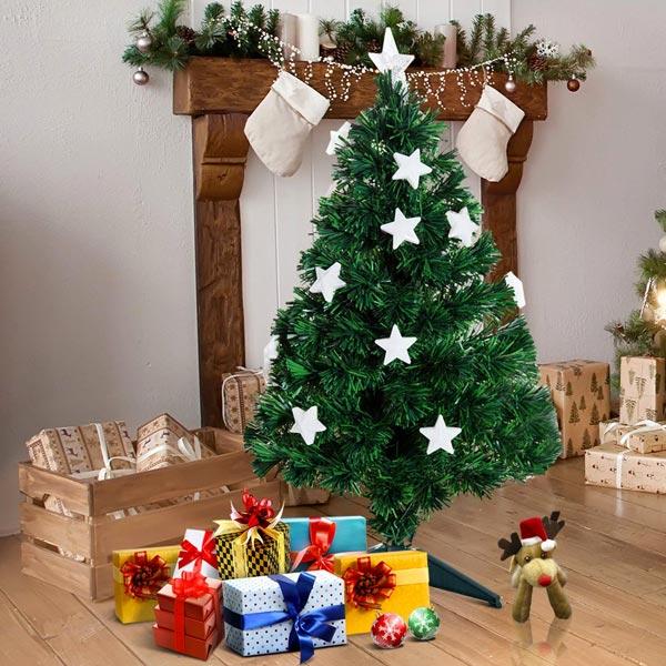Albero Di Natale Bianco 90 Cm.Homcom It02 03440631 Albero Di Natale Fibra Ottica 90cm