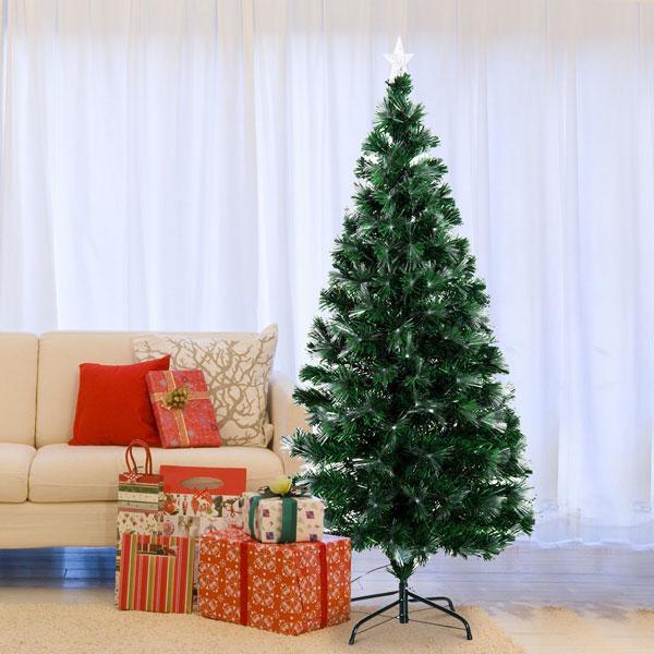 HOMCOM 830-019 Albero di Natale PVC 150cm con Fibre Ottiche