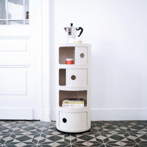 KARTELL Componibili 4985-03 Mobiletto Moderno 4 Elementi Bianco