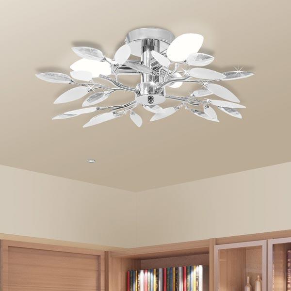 Lampada moderna da soffitto VidaXL Cristalli bianchi