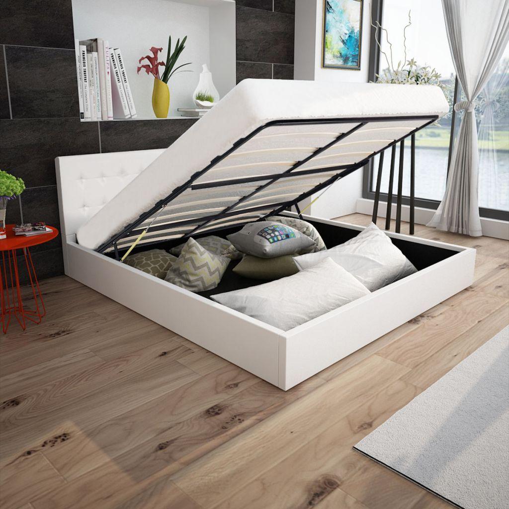 Vidaxl letto matrimoniale contenitore ecopelle bianco - Dove comprare un letto matrimoniale ...