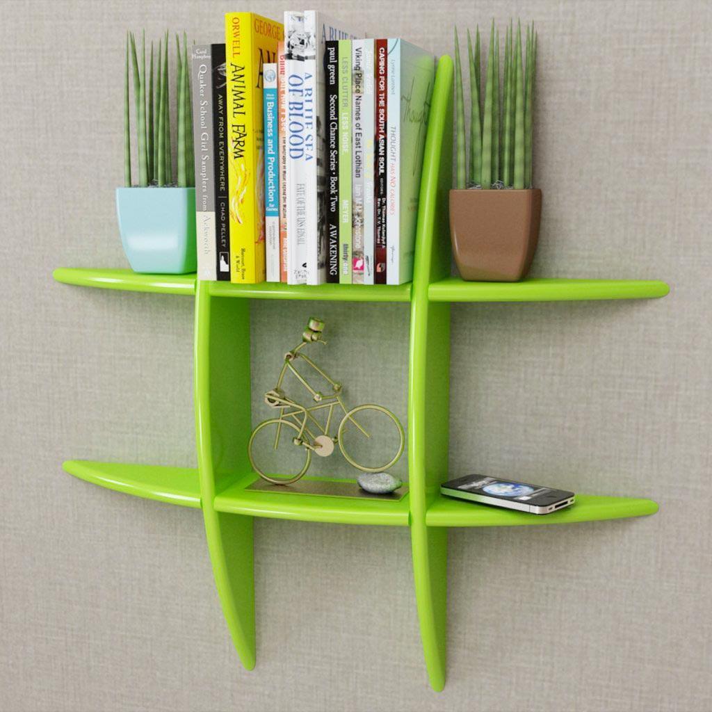 Libreria moderna da parete VidaXL In MDF Verde