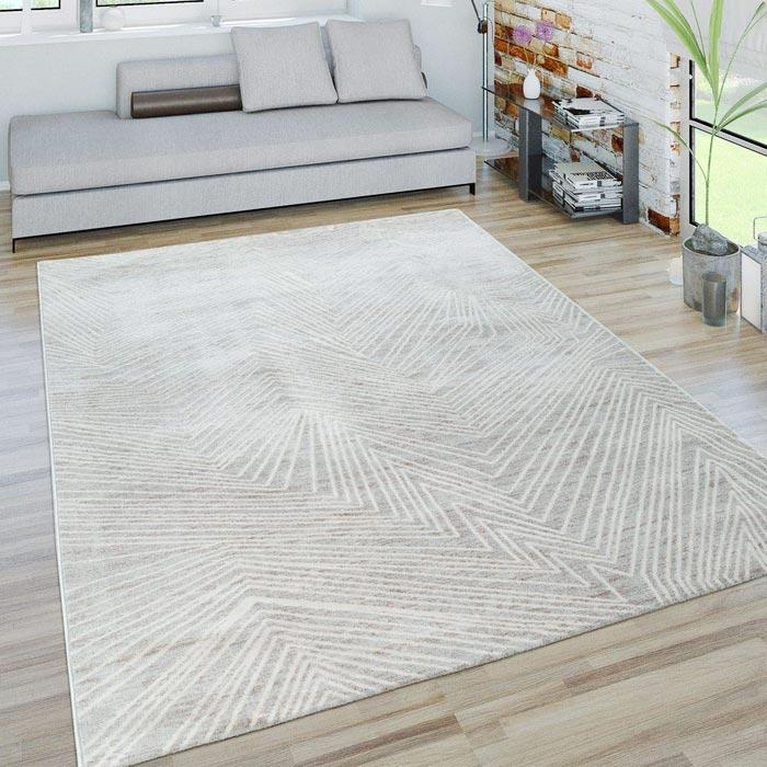 PACO HOME Tappeto Moderno Motivo Zig-Zag Effetto 3D in Grigio e Bianco