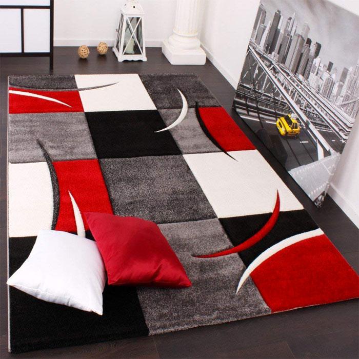 PACO HOME Tappeto Moderno a Quadri Bianco Rosso Grigio e Nero