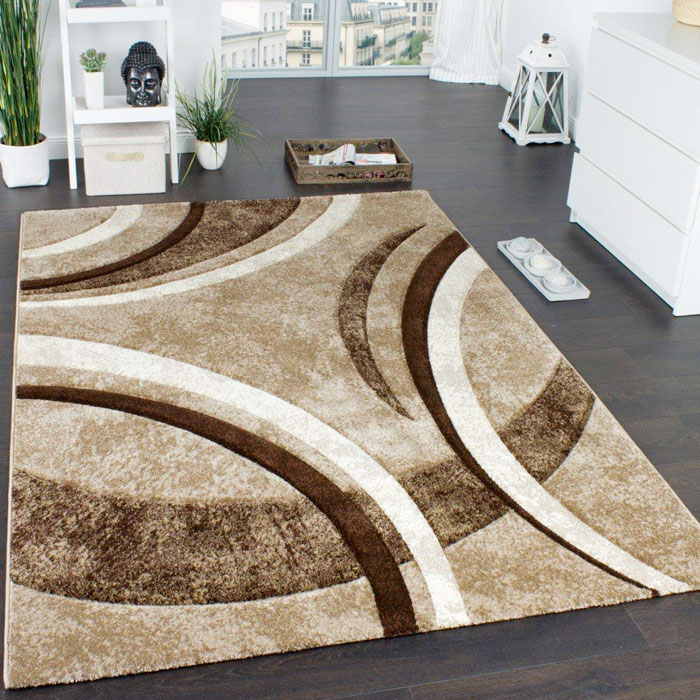 PACO HOME Tappeto Moderno con Bordo a Righe Marrone Beige Crema Screziato
