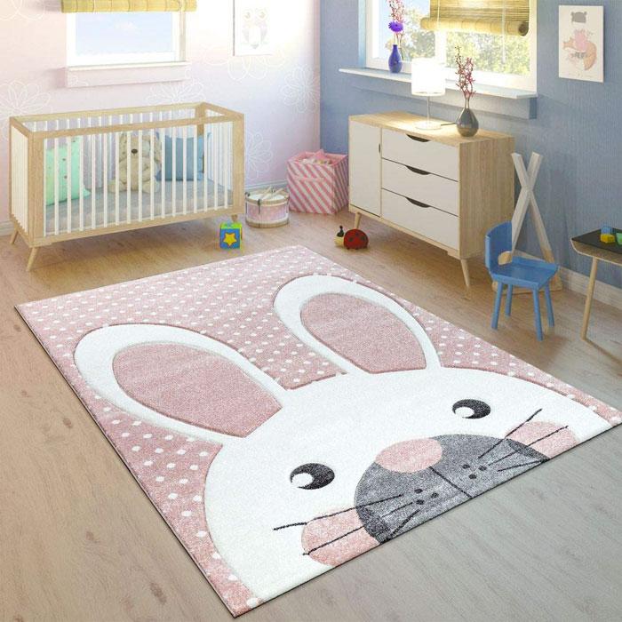 PACO HOME Tappeto per Bambini Coniglio Rosa Pastello