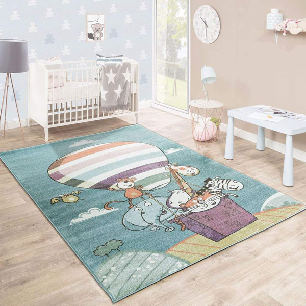 PACO HOME Tappeto per Bambini Motivo Mongolfiera Animali