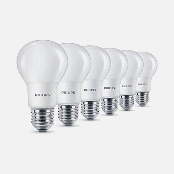 philips 6 lampadine a led 8w 60w attacco e27 luce calda