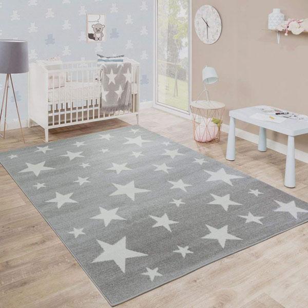 PACO HOME Tappeto per Bambini Motivo Stella Grigio Bianco