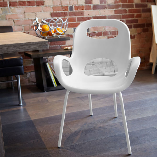 Umbra oh chairs sedia moderna bianca for Sedia bianca moderna