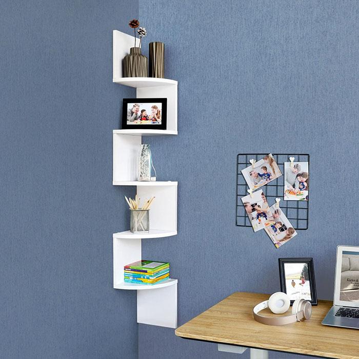 VASAGLE LBC20WT Libreria Moderna Angolare Bianco