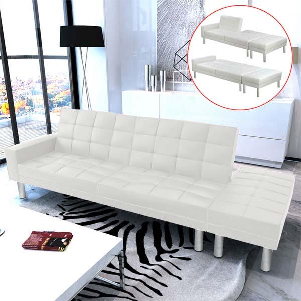 VidaXL - Divano Letto Moderno in Ecopelle Bianco 3 Posti