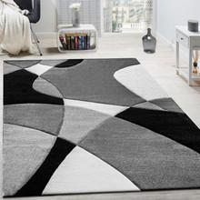 PACO HOME Tappeto di Design Taglio Sagomato Nero Bianco
