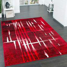 PACO HOME Tappeto di Design Mélange Rosso Nero Bianco