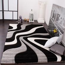 PACO HOME Tappeto di Design Ondulato Nero Grigio Bianco