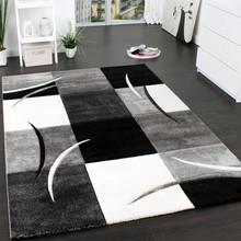 PACO HOME Tappeto moderno Quadri Bianco Nero Grigio