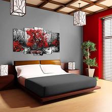 DEKOARTE 257 Quadro Moderno di Design Tessuto Albero Rosso
