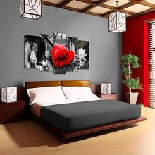 DEKOARTE 264 Quadro Moderno di Design Tessuto Rosa Rossa