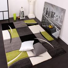 PACO HOME Tappeto di Design Quadri Bianco Verde Grigio Nero