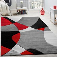 PACO HOME Tappeto di Design Taglio Sagomato Rosso Nero Grigio