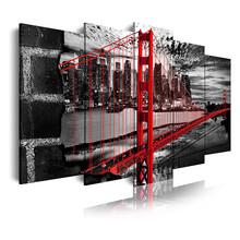 DEKOARTE 278 Quadro Moderno Golden Gate Bianco Nero Rosso