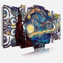 DEKOARTE 425 Quadro Moderno Notte Stellata Van Gogh 5 Pezzi