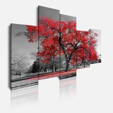 DEKOARTE 16 Quadro Moderno Natura Albero Rosso 5 Pezzi