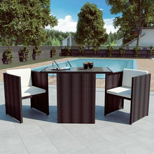 VIDAXL 42485 Set Tavolo con Sedie da Giardino in Rattan Marrone