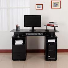 HOMECOM 920-011BK Scrivania da Studio Compatta in MDF Nero