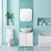IKAYAA Mobiletto Moderno da Bagno 2 Ante Bianco