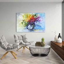 MONICA MIRAFIORI Quadro Arte Moderna Dipinto a Mano Fiori Astratto
