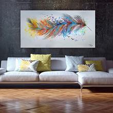MONICA MIRAFIORI Quadro Arte Moderna Dipinto a Mano Piuma Astratto