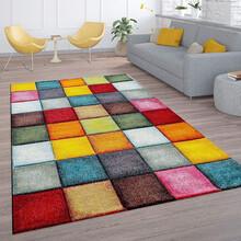 PACO HOME Tappeto Moderno Design Quadri Multicolore