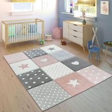 PACO HOME Tappeto per Bambini Colori Pastello Quadri Punti Cuori Stelle