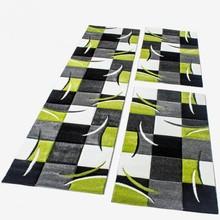 PACO HOME Tappeto Scendiletto a Quadri Verde Grigio Nero Bianco Set 3 pezzi