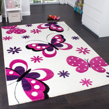 PACO HOME Tappeto per Bambine Farfalle Fiori Crema Rosa Fucsia