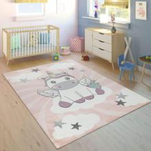 PACO HOME Tappeto per Bambine Unicorno su Nuvole Rosa Lilla