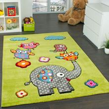 PACO HOME Tappeto per Bambini Amici Animali Verde