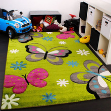 PACO HOME Tappeto per Bambini Motivo Farfalla Fiori Verde