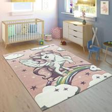 PACO HOME Tappeto per Bambini Unicorno Pastello Rosa