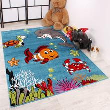 PACO HOME Tappeto per Bambini Pesci Delfino Turchese