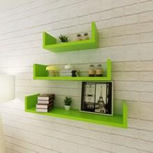 Set 3 Mensole Libreria componibile VidaXL MDF Verde